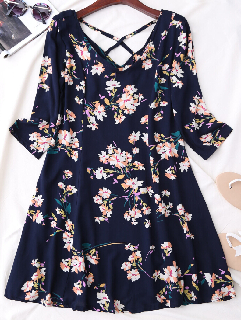 Three Quarter Sleeve Floral Print Flared Dress