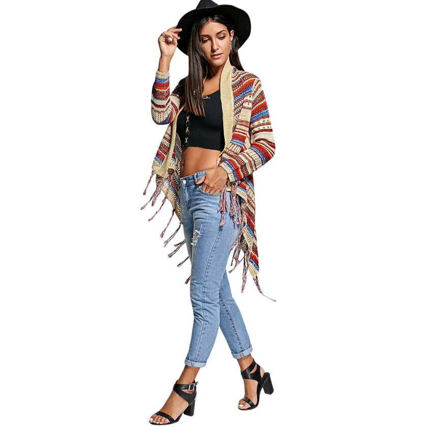 Asymmetric Fringe Open Front Cardigan ONE SIZE