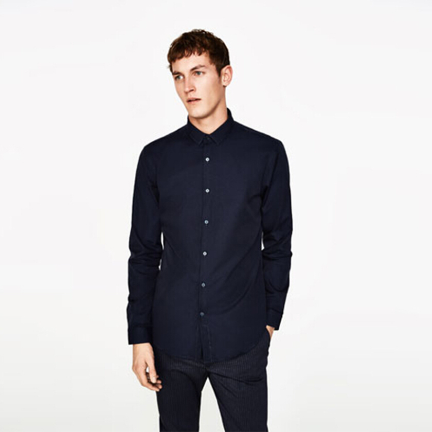 ZARA MAN Ottoman Shirt - Navy [XL]