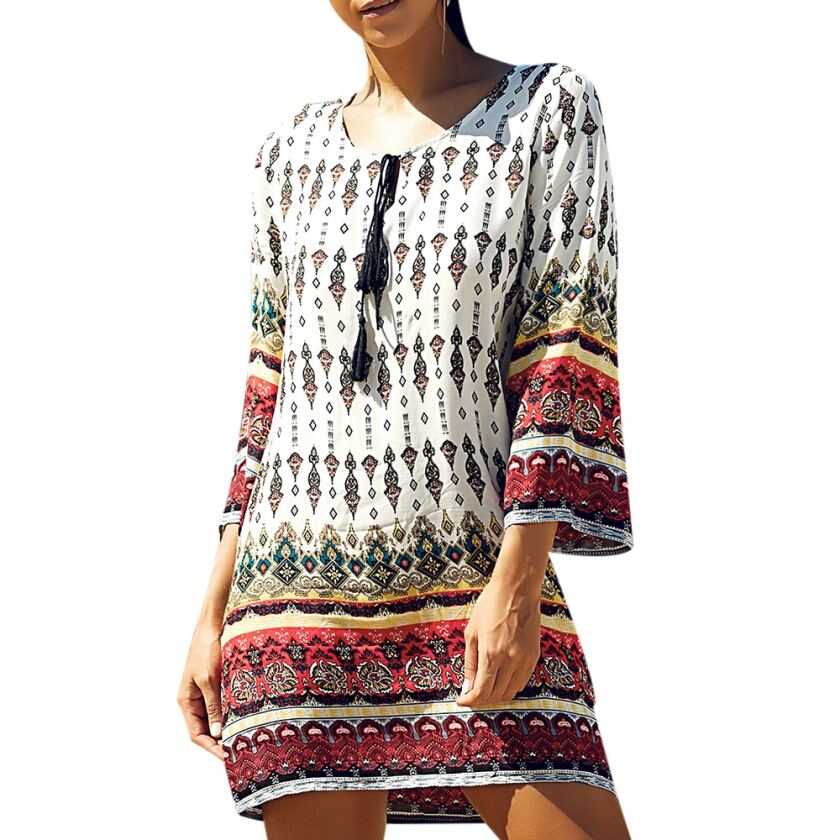 Ethnic Style Geometric Printed Mini Dress