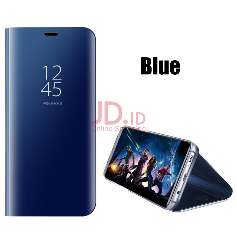 harga Keymao Samsung Galaxy Note 5 Case Leather Smart Clear View Flip Stand cover Blue Jd.id