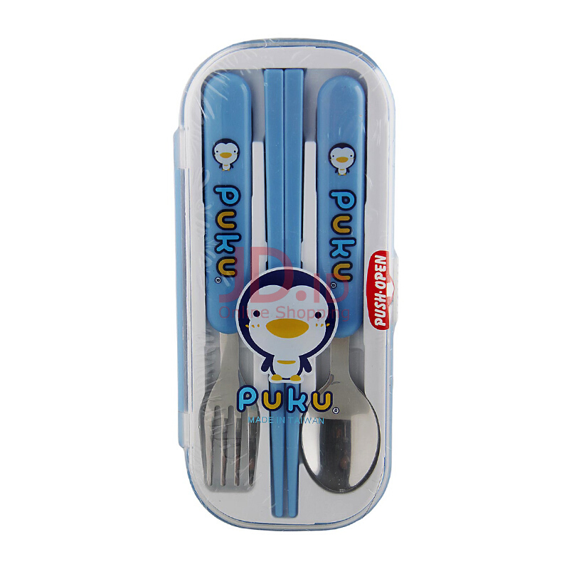 Jual PUKU Baby Fork & Spoon Set with Case - Blue JD.id