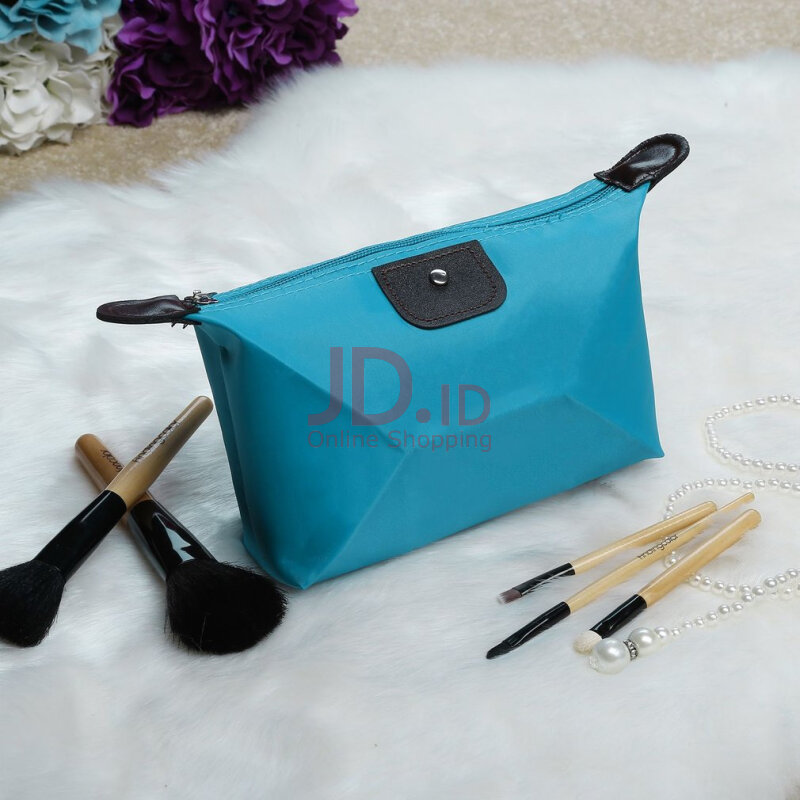 harga Candy Color Ladies MakeUp Folding Handbag Storage Waterproof Wallet Travel Bag-Light Blue Jd.id