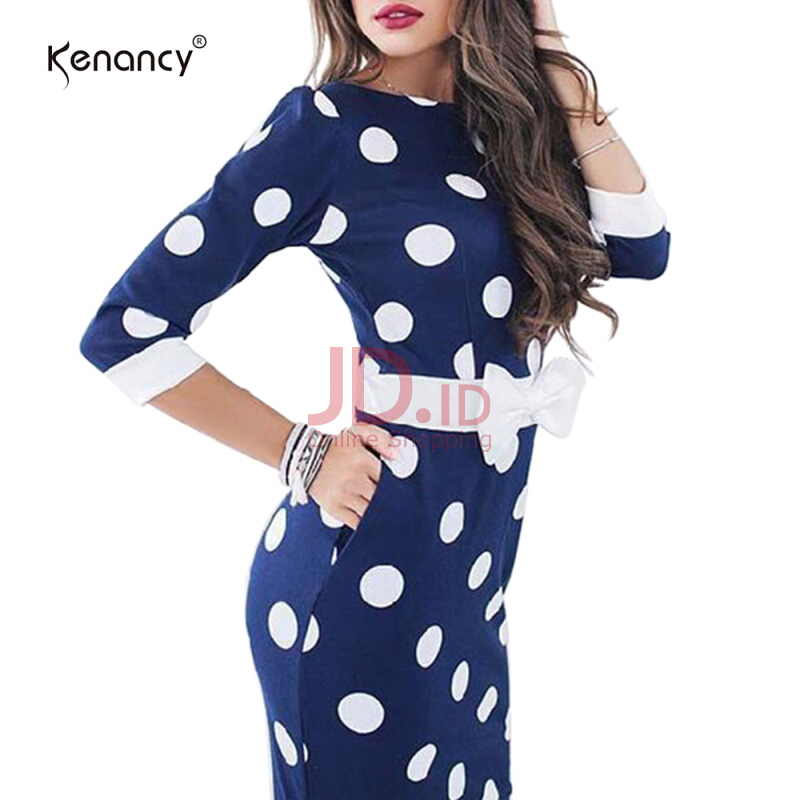 harga Fashionmall Kenancy 0809 Sexy Polka Dot Print Pencil Dress With Pocket L Blue Jd.id