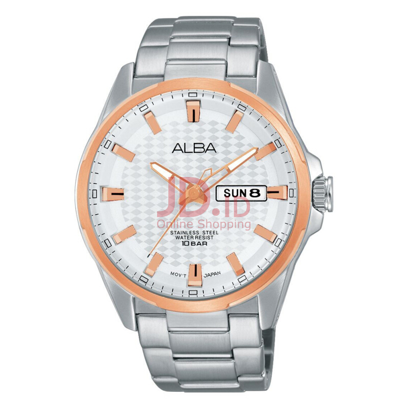 Alba Active Analog Jam Tangan Pria - Tali Stainless Steel - AT2052X1 -