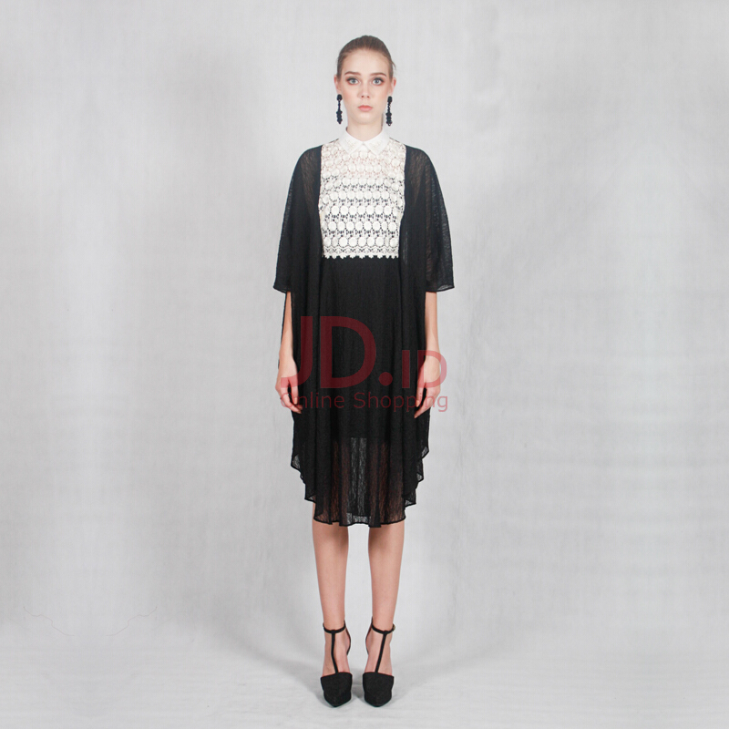 harga VOTUM Midi Kaftan Black and White Lace Jd.id