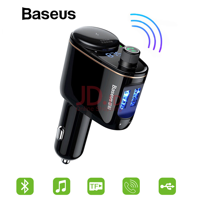 harga Baseus Car MP3 Audio Player Bluetooth Car Kit FM Transmitter Handsfree Calling 5V 3.4A Dual USB Car Charger Mobile Phone Charger - Black Jd.id