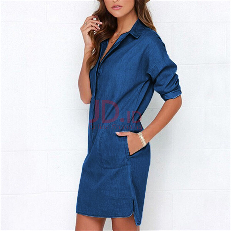 harga Jantens Casual Lady Denim Shirt Dress Summer Irregular Shirt Dress Long Sleeve Sexy Loose Dress Blue S Jd.id