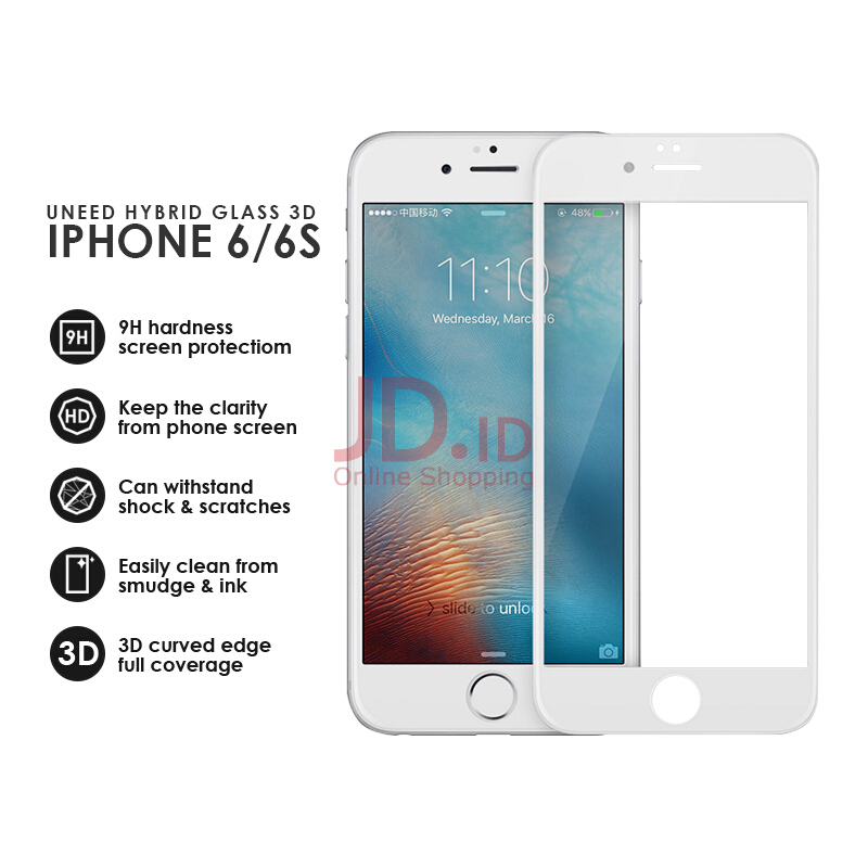 Jual UNEED Shield 3D Hybrid Glass Protector for iPhone 7 Plus - Anti Break White Uneed