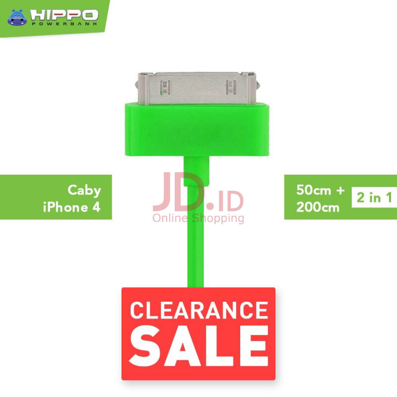 harga Hippo Caby 1 iPhone 4 Kabel Data & Charger 200cm + 50cm Jd.id