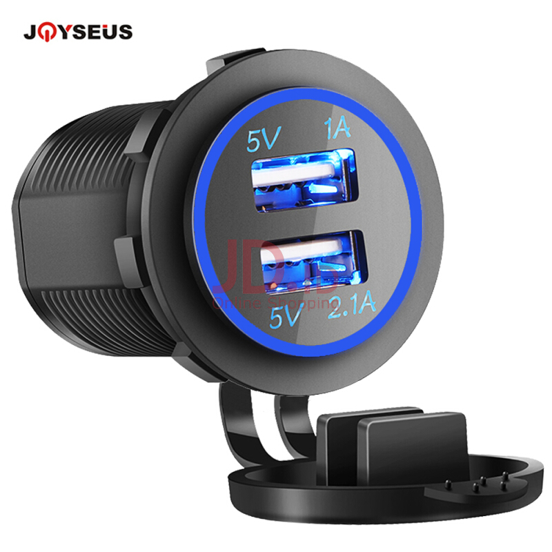 harga JOYSEUS 12V-24V Car USB Charger 3.1A for Motorcycle Auto Truck ATV Boat LED Light Dual USB Socket Charger Power Adapter Outlet Black Jd.id
