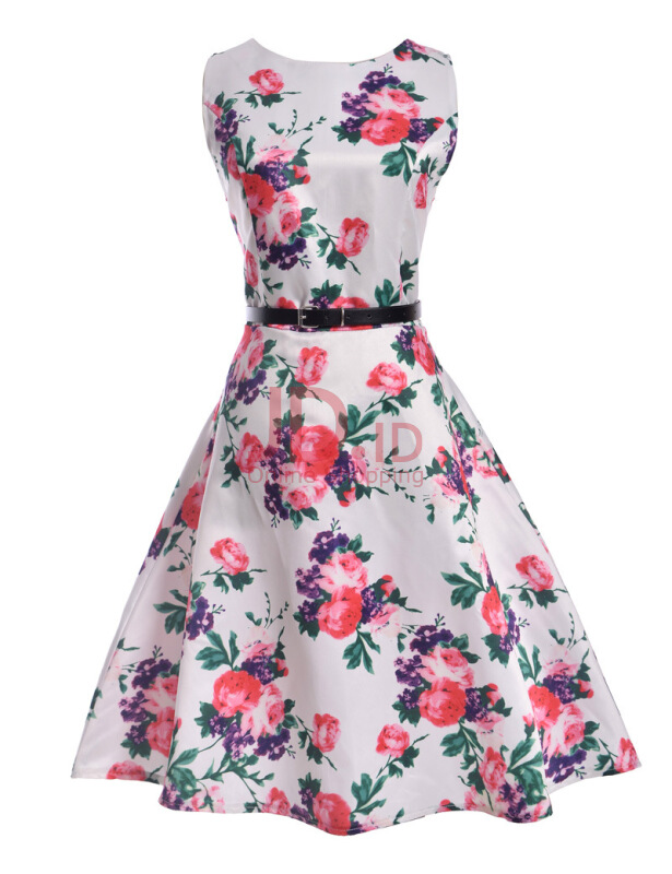 harga Jantens Spring Summer Dress Vintage Floral Print Large Size Ladies Dress Big Swing Party Vestidos White S Jd.id